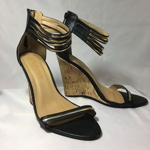 "Liliana black and gold wedge 3 1/2"" heels size 6.5"